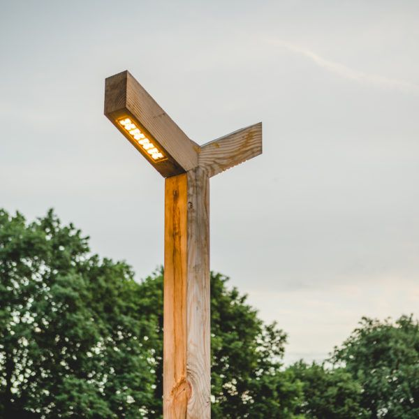 Lamppost of Wood in single and double version with LED lighting